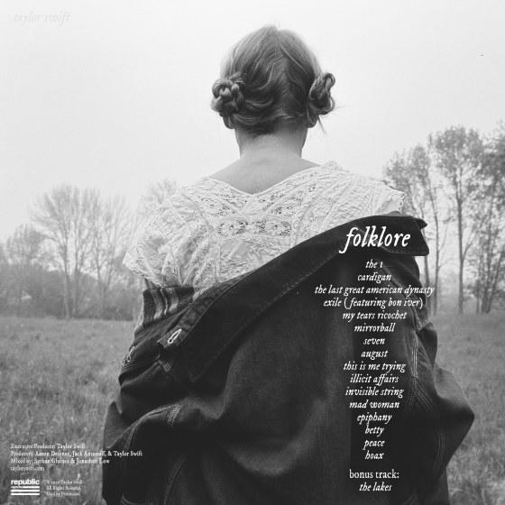 "This is the album back cover for Taylor Swift's ""Folklore."" <span class=""copyright"">(Taylor Swift / Republic Records)</span>"