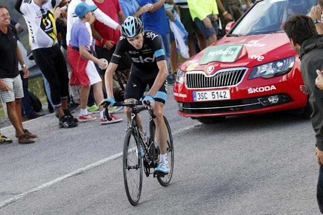 Chris Froome (Team Sky) climbing at the Vuelta