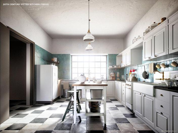 HomeAdvisor's rendering of a 20th-Century Fitted Kitchen.