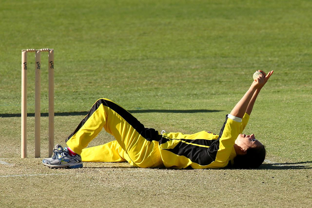 PERTH, AUSTRALIA - OCTOBER 12: Nicole Bolton of the Fury celebrates dimissing Kate Waetford of the Meteors during the WNCL match between the Western Australia Fury and the ACT Meteors at the WACA on October 12, 2013 in Perth, Australia.  (Photo by Paul Kane/Getty Images)
