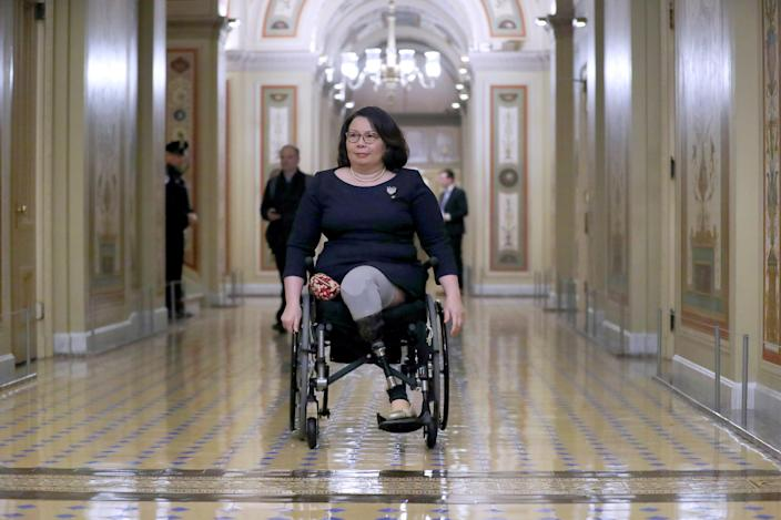 Sen. Tammy Duckworth, D-Ill., at the Capitol in January. (Chip Somodevilla/Getty Images)