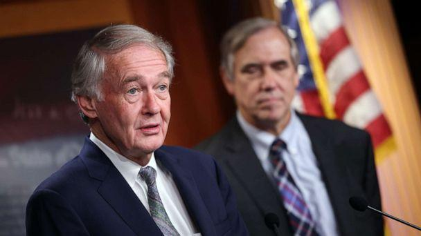 PHOTO: Sen. Ed Markey and Sen. Jeff Merkley speak on infrastructure and climate protection at the Capitol, June 15, 2021, in Washington, DC. (Kevin Dietsch/Getty Images)