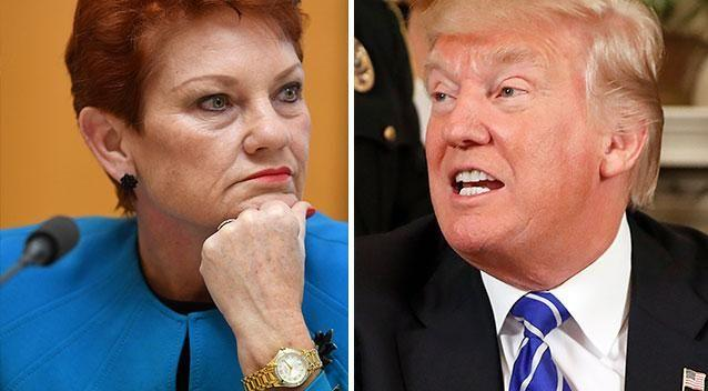 Both Pauline Hanson and Donald Trump received immediate and frosty reactions to their statements. Photos: AAP/AP
