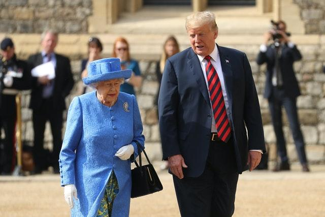 The Queen and Mr Trump during their first meeting at Windsor Castle. Chris Jackson