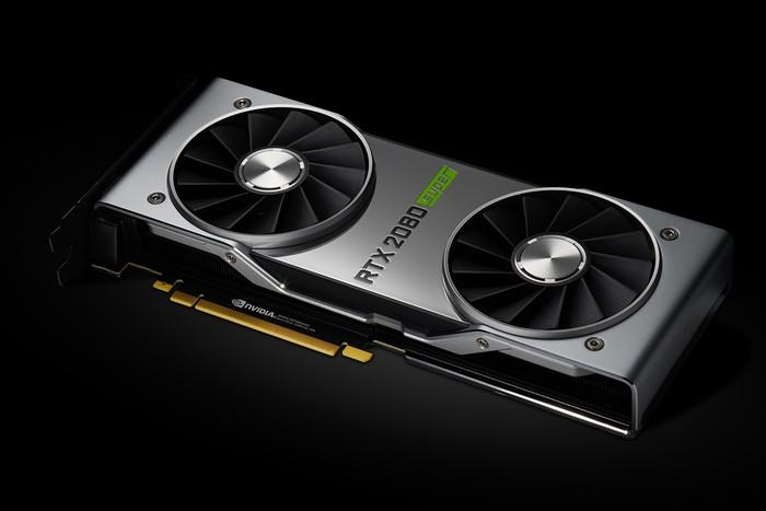 NVIDIA's new RTX 2080 Super graphics card laying on its side against a black background.