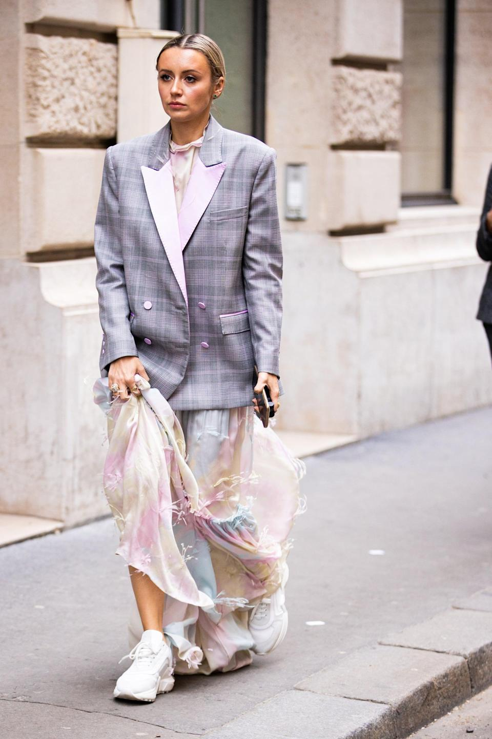 <p>This gauzy dress looks fresh with an oversize blazer and chunky sneaker.</p>