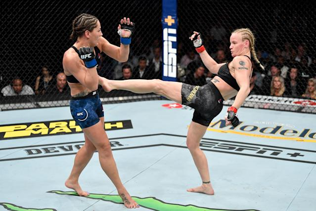 Valentina Shevchenko kicks Jessica Eye in their women's flyweight championship bout during UFC 238 at the United Center on June 8, 2019 in Chicago. (Getty Images)