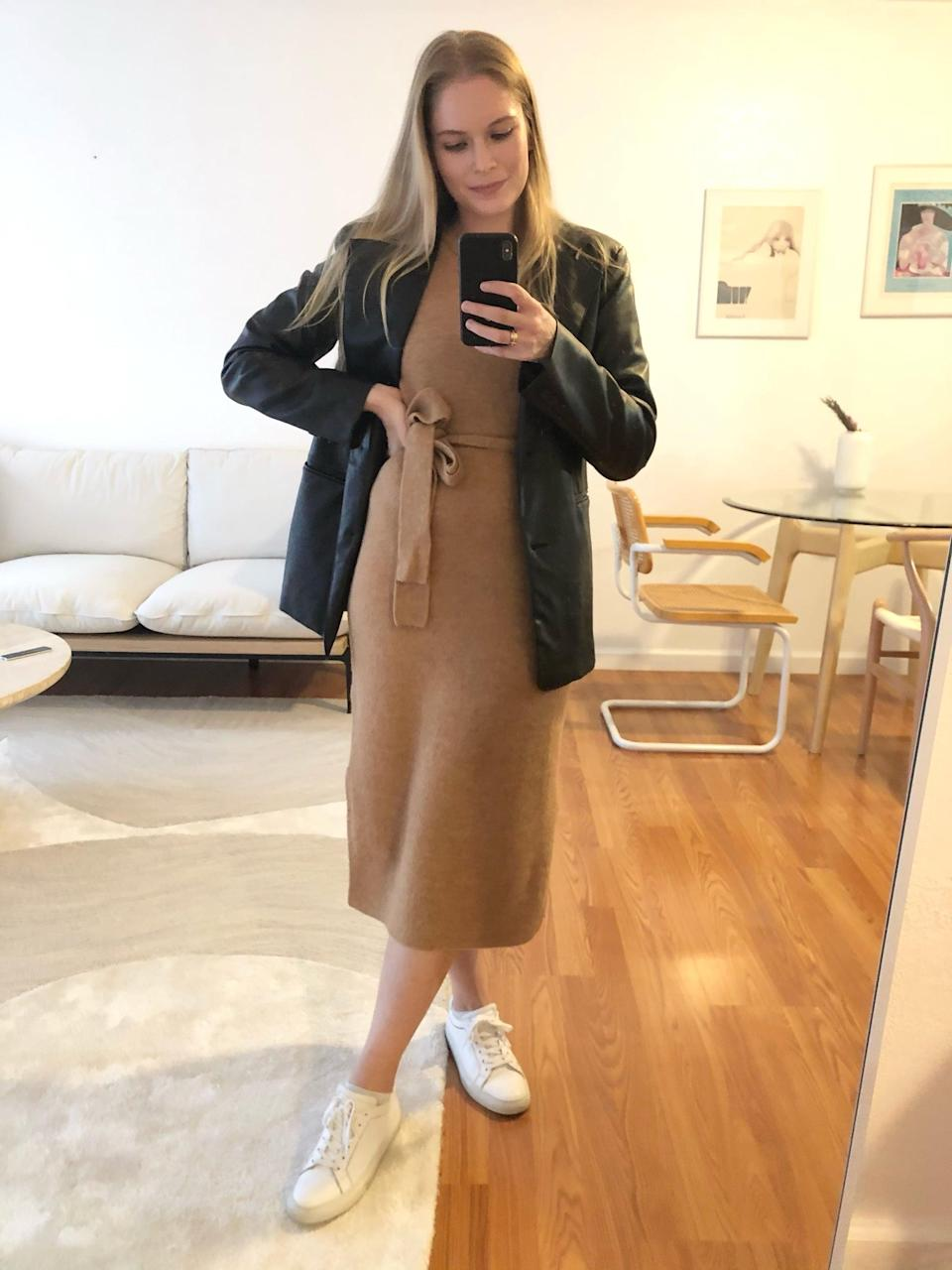 <p>The <span>Flare-Sleeve Sweater Dress</span> ($111, originally $139) proves its versatility, because I can easily pair it with sneakers and a leather blazer.</p>