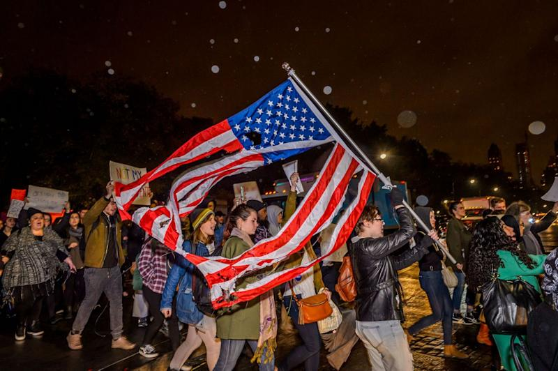 An estimate of ten thousand demonstrators took the streets of Manhattan and converged outside Trump Tower in Midtown to protest the election of Donald J. Trump as president on Nov. 11, 2016. (Photo: Erik McGregor/Pacific Press/LightRocket via Getty Images)