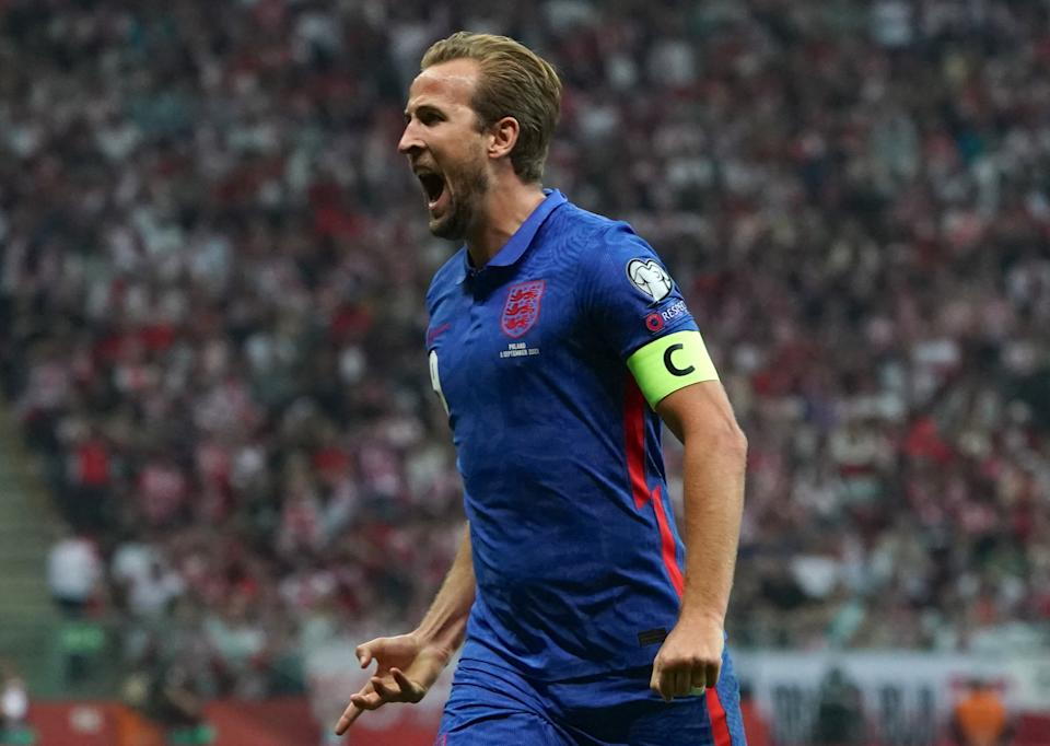 Pictured here, England's Harry Kane celebrates his goal against Poland in World Cup qualifying.