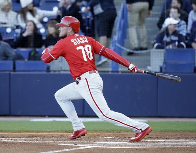 Philadelphia Phillies' Brock Stassi bats against the New York Yankees in a spring training baseball game, Wednesday, March 15, 2017, in Tampa, Fla. (AP Photo)