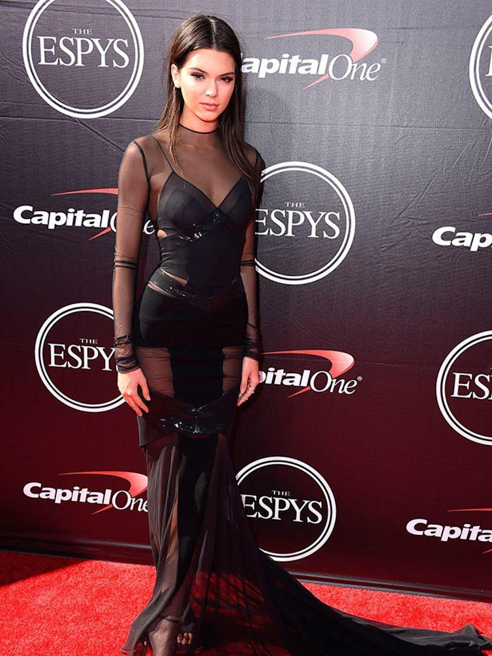 <p>Kendall Jenner wears Alexandre Vauthier to the ESPYS in LA, July 2015.</p>