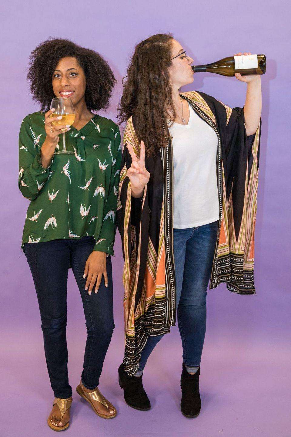 """<p>Grab the wine and prepare for the seventh <em>and</em> final season of <em>Grace & Frankie</em> with this hilarious costume. Once you figure out who is who, shop your closets (before making a pit stop at the liquor store) to DIY these Netflix-worthy looks. </p><p><strong>RELATED:</strong> <a href=""""https://www.goodhousekeeping.com/holidays/halloween-ideas/g28102891/badass-halloween-costumes-women/"""" rel=""""nofollow noopener"""" target=""""_blank"""" data-ylk=""""slk:30 Badass Halloween Costume Ideas for Strong Women"""" class=""""link rapid-noclick-resp"""">30 Badass Halloween Costume Ideas for Strong Women</a></p>"""