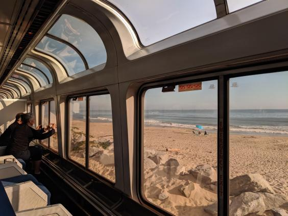 The observation car has floor-to-ceiling windows (Nicola Brady)