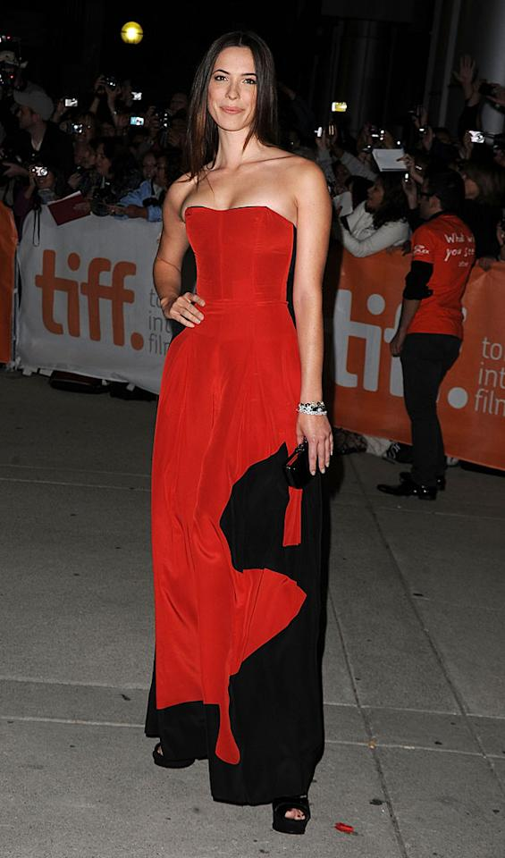"""British beauty Rebecca Hall wowed by wearing not a dress, but a gorgeous jumpsuit from YSL Resort 2011 for her big night: The premiere of """"The Town"""" at the Toronto Film Festival. She accessorized with shoes and a clutch by YSL. Jason Merritt/<a href=""""http://www.gettyimages.com/"""" target=""""new"""">GettyImages.com</a> - September 11, 2010"""
