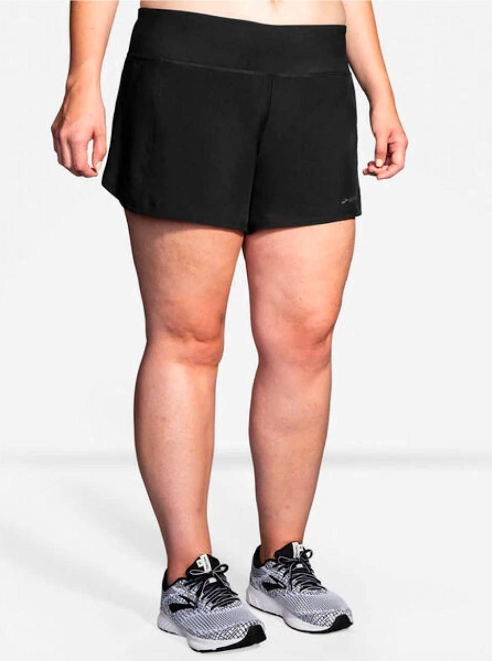 """""""The wide spandex waistband on these shorts keep them from moving around for my usual 5Ks, and I appreciate that the fabric doesn't cling. These workout shorts also have a sweat-wicking brief liner, which is clutch for sticky summer mornings."""" —<em>D.P.</em> $48, Brooks. <a href=""""https://www.brooksrunning.com/en_us/chaser-womens-running-shorts-5inch/221255.html"""" rel=""""nofollow noopener"""" target=""""_blank"""" data-ylk=""""slk:Get it now!"""" class=""""link rapid-noclick-resp"""">Get it now!</a>"""