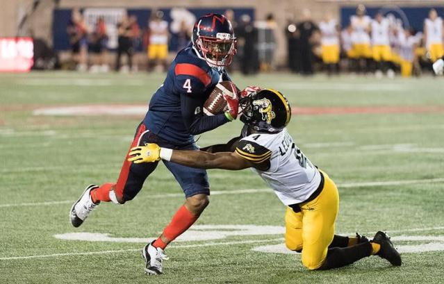"""MONTREAL — Following a dominant performance on the ground, Alouettes running back William Stanback delivered a warning for the rest of the Canadian Football League.""""Don't take us lightly, because you never know what's going to happen,"""" Stanback said.The running back scored three touchdowns in a 36-29 victory over the Hamilton Tiger-Cats at Percival Molson Stadium Thursday night, making it the Alouettes' first win of the season.Stanback ran for 203 yards to go with his three scores, becoming the first Alouette to run for over 200 yards since Mike Pringle did it in 1998. Alouettes quarterback Vernon Adams Jr. threw for 202 yards and scored a rushing touchdown of his own. Alouettes head coach Khari Jones also won his first game as head coach.""""(Hamilton) is a tough team,"""" Jones said after the game. """"They fought. But I like the fight that we had. I really did. I like the guys' attitude. No one got down. There were a lot of ebbs and flows in the game and guys just kept playing.""""Hamilton's Jeremiah Masoli threw two touchdowns and an interception to go with his 401 yards.The Alouettes began the game with a Boris Bede field goal following a six-play, 60-yard drive led by quarterback Vernon Adams Jr. Later in the quarter, Stanback and the Alouettes got the ball back following a Glenn Love interception off Masoli. Stanback then scored his first of the day off another six-play drive, giving his team a 10-0 lead halfway through the opening quarter.With less than two minutes to go in the first, Masoli threw a 17-yard touchdown pass to Jaelon Acklin on a five play, 78-yard drive. Hamilton, however, missed a two-point conversion. The score ended 10-6 after the first quarter.In the second quarter, both teams' kickers provided all the scoring. Hamilton's Lirim Hajrullahu scored four field goals in the quarter, while Bede added his second of the day. The Ticats took an 18-13 lead into the break.Bede began the third quarter with his third field goal of the day, cutting Hamilton's lead """