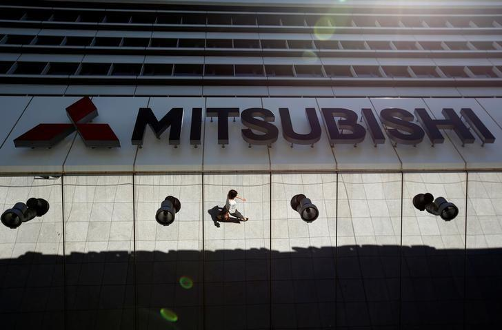 The company logo of Mitsubishi Motors is seen at its headquarters in Tokyo, Japan