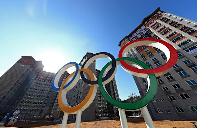<p>The Olympic rings are seen during previews ahead of the PyeongChang 2018 Winter Olympic Games at the Olympic Village on February 6, 2018 in Pyeongchang-gun, South Korea. (Alexander Hassenstein/Getty Images) </p>
