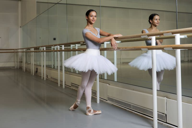 Frankie Hayward, principal dancer of the Royal Ballet and actress in forthcoming Cats movie poses for a photograph after rehearsal at the Royal Opera House in London, Britain