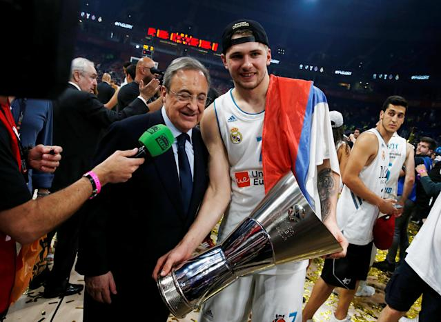 Basketball - Euroleague Final Four Final - Real Madrid vs Fenerbahce Dogus Istanbul - Stark Arena, Belgrade, Serbia - May 20, 2018 Real Madrid's Luka Doncic with Real Madrid president Florentino Perez after the match REUTERS/Alkis Konstantinidis