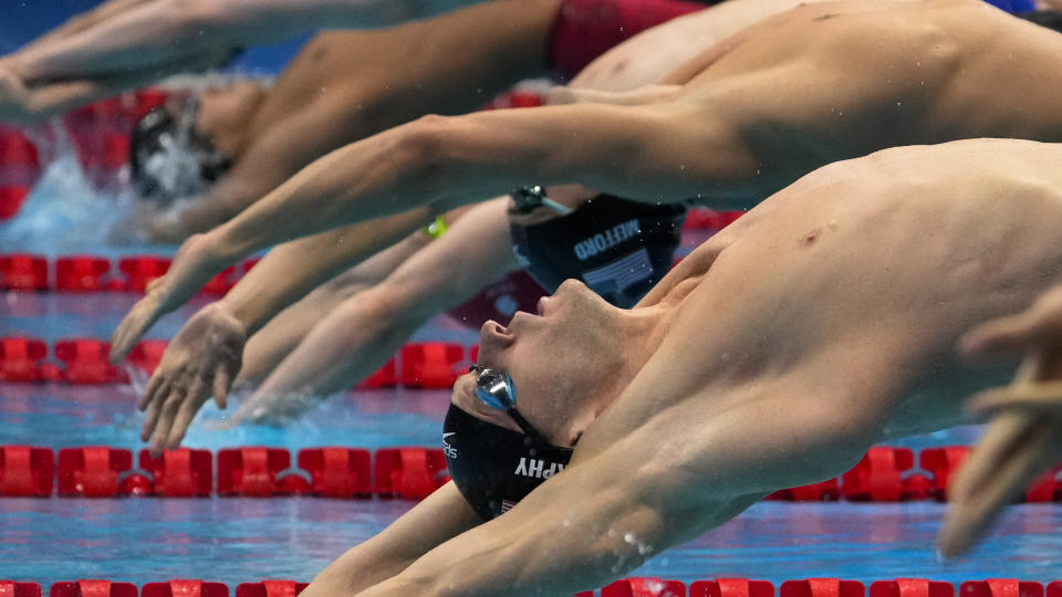 Ryan Murphy, of the United States, swims in a men's 200-meter backstroke semifinal at the 2020 Summer Olympics, Thursday, July 29, 2021, in Tokyo, Japan. (AP Photo/Charlie Riedel)