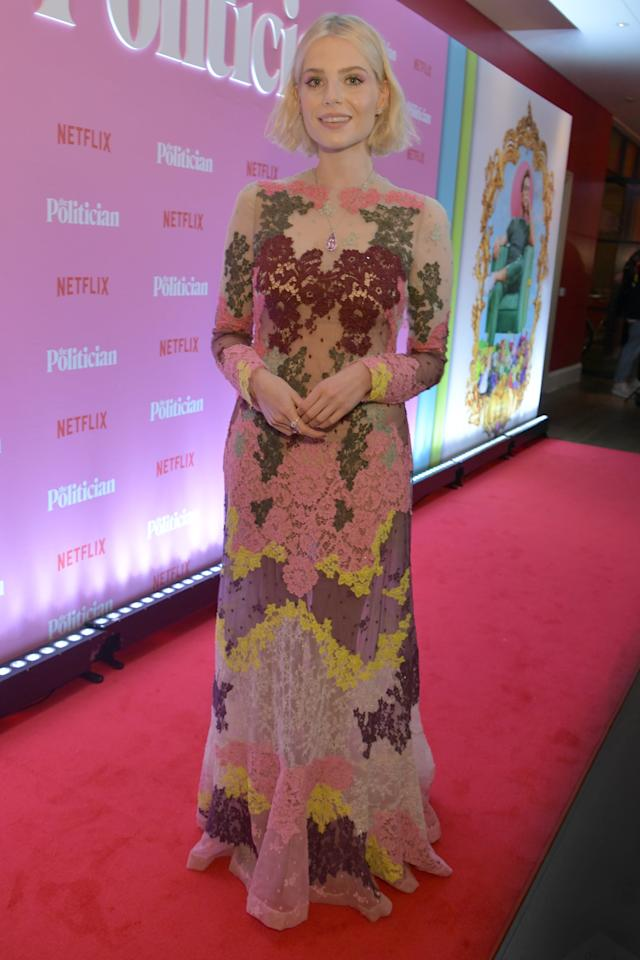 <p>Lucy was ethereal in a sheer, lacy Valentino gown at <strong>The Politician</strong>'s screening at the Ham Yard Hotel in September 2019.</p>