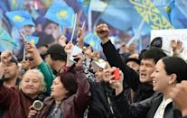Opposition supporters rally during Kazakhstan's presidential elections in Nur-Sultan