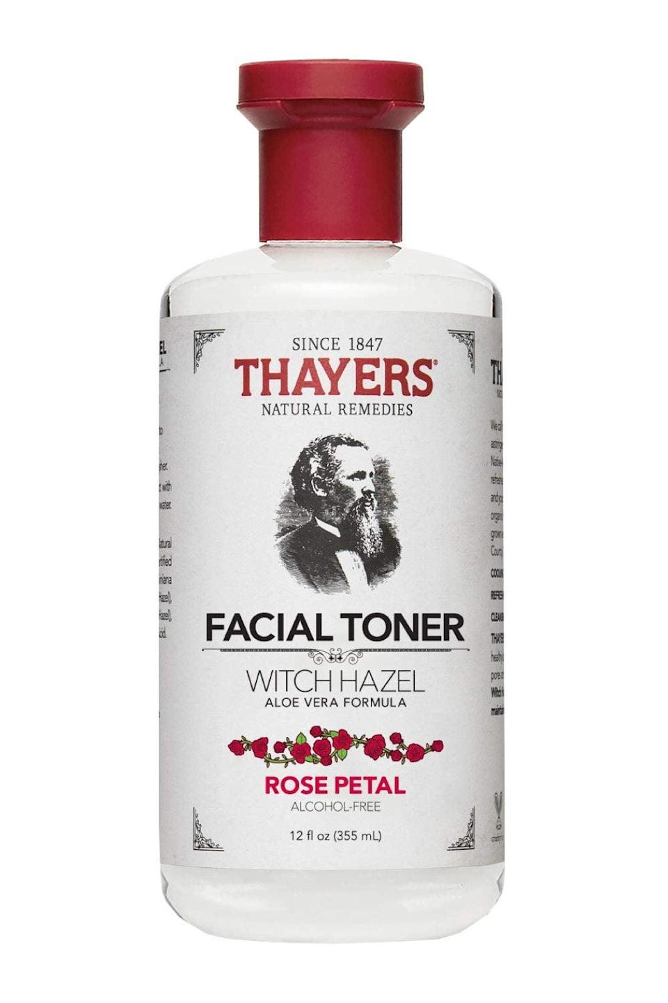 <p>This <span>Thayers Alcohol-Free Rose Petal Witch Hazel Toner with Aloe Vera</span> ($8) is the top-rated skincare product on Amazon. With a soft rosy scent, this gentle toner will help clear skin of buildup and debris.</p>