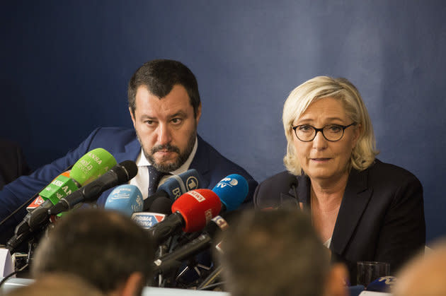 Lega Nord's Matteo Salvini and Front Nationale's Marine le Pen. The pair lead parties which are poised to win more MEPs.
