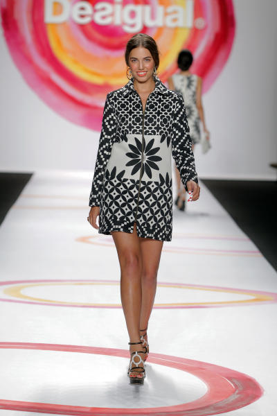 In this Thursday, Sept. 6, 2013, photo, fashion from the Desigual Spring 2014 collection is modeled during Fashion Week in New York. (AP Photo/Desigual)