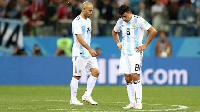 Javier Mascherano remains hopeful Argentina can reach the last 16 of the World Cup.