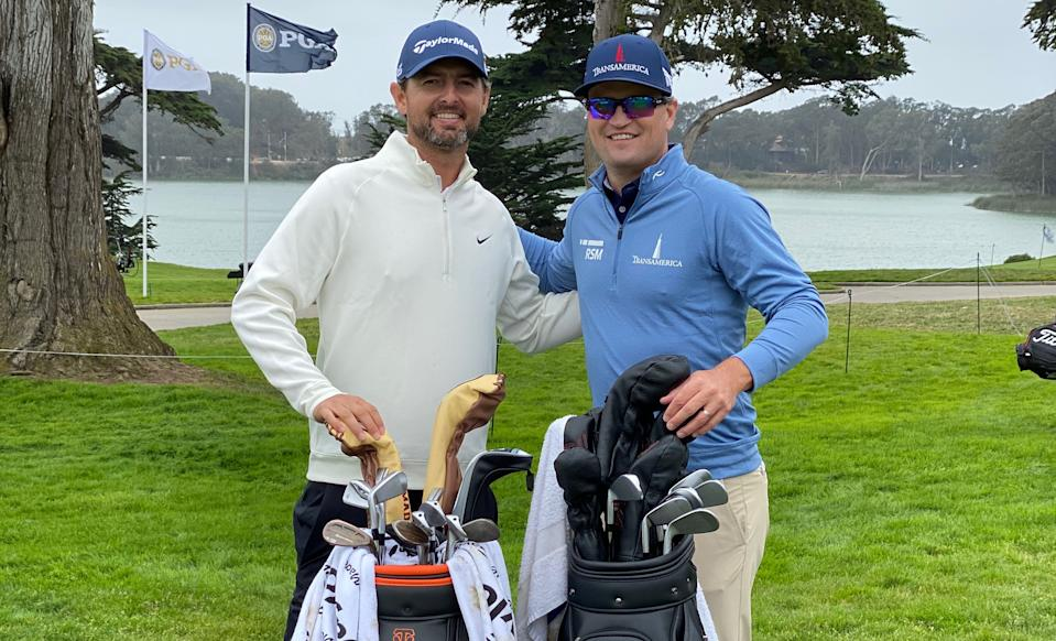 Utah club pro Zach J. Johnson, left, played a practice round with two-time major winner Zach H. Johnson at TPC Harding Park this week ahead of the PGA Championship. (PGA of America)