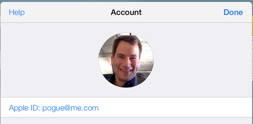 David Pogue's iCloud log-in screen