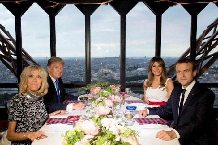 US President Donald Trump and his French counterpart Emmanuel Macron, along with their wives, ate at the Jules Verne restaurant in July 2017 (AFP Photo/SAUL LOEB)
