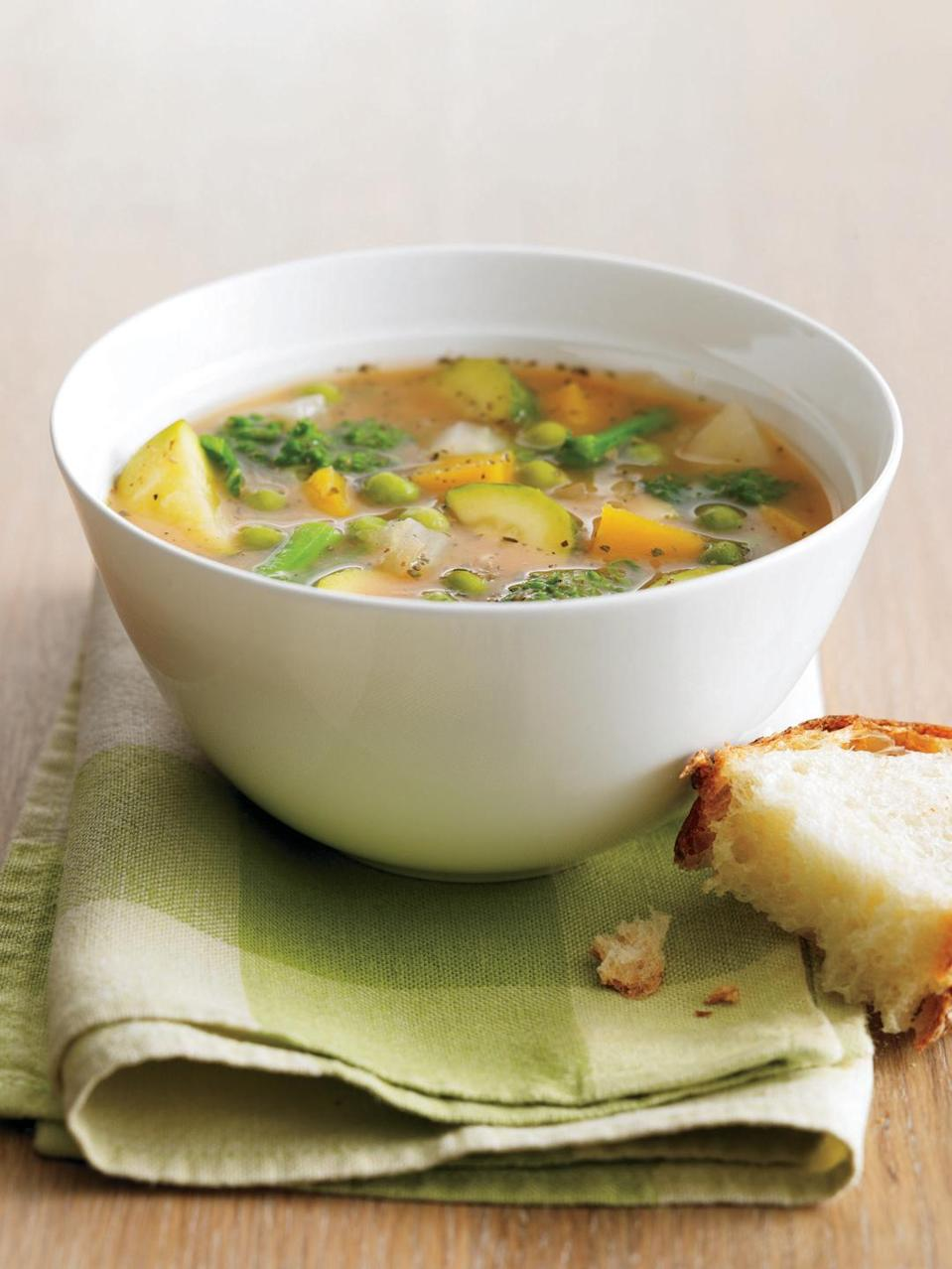 """<p>You won't be short on vitamins and other essential nutrients with this loaded vegetable soup. But what sets this apart from other veggie soups: the spicy Italian seasoning. </p><p><em><a href=""""https://www.womansday.com/food-recipes/food-drinks/recipes/a11458/loaded-veggies-soup-recipe-122750/"""" rel=""""nofollow noopener"""" target=""""_blank"""" data-ylk=""""slk:Get the Loaded Vegetable Soup recipe."""" class=""""link rapid-noclick-resp"""">Get the Loaded Vegetable Soup recipe. </a></em></p>"""