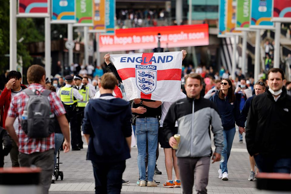 England supporters arriving at Wembley ahead of the final group match against the Czech Republic (AFP via Getty Images)