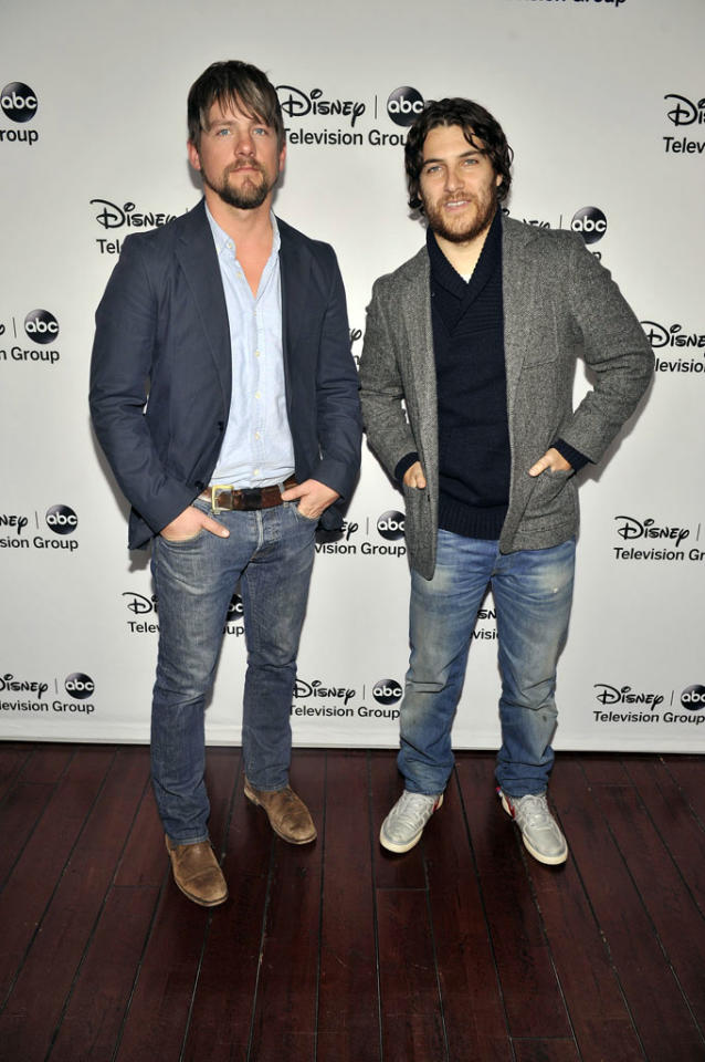 "Zach knighton and Adam Pally (""Happy Endings"") attend the Disney ABC Television Group 2013 TCA Winter Press Tour at The Langham Huntington Hotel and Spa on January 10, 2013 in Pasadena, California."