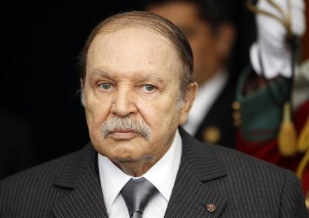 Algeria's President Abdelaziz Bouteflika is seen at the presidential palace in Algiers