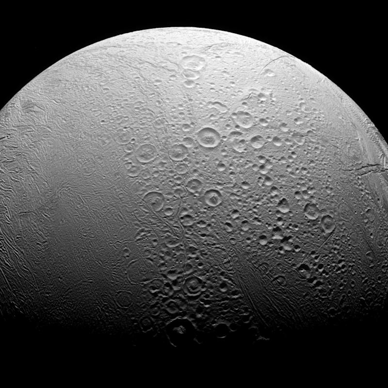 Saturn's ocean-bearing moon Enceladus taken in visible light with the Cassini spacecraft narrow-angle camera on Nov. 27, 2016. NASA/JPL-Caltech/Space Science Institute/Handout via REUTERS ATTENTION EDITORS - THIS IMAGE WAS PROVIDED BY A THIRD PARTY. EDITORIAL USE ONLY.