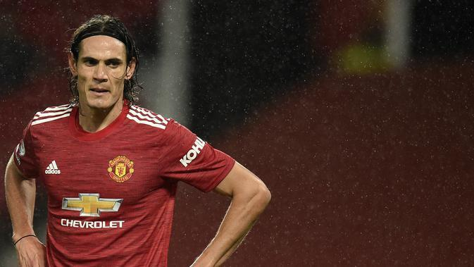 Striker Manchester United (MU) Edinson Cavani. (Oli Scarff/Pool via AP)