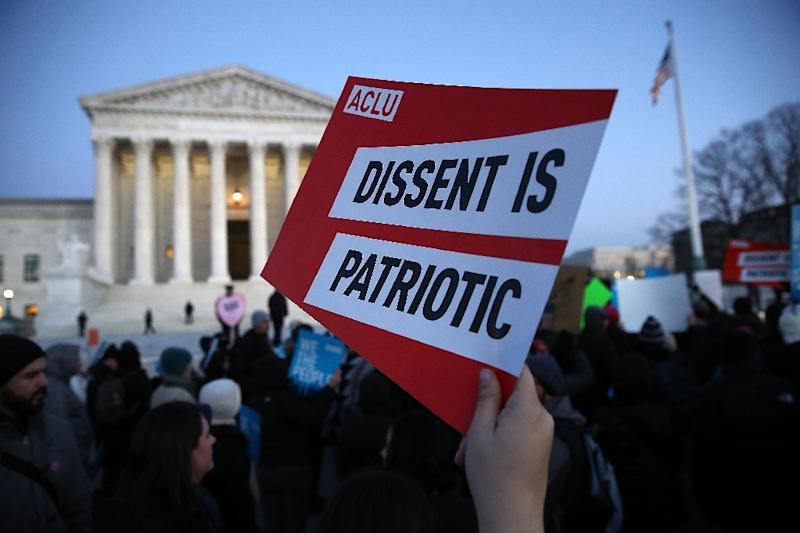 Protesters demonstrate against U.S. President Donald Trump's recent executive order on immigration outside the U.S. Supreme Court January 30, 2017