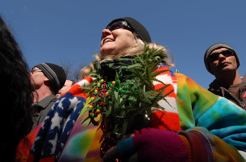 General view of the annual Hash Bash pro marijuana rally at University of Michigan on April 3, 2015 in Ann Arbor, Michigan. (Photo: Paul Warner/Getty Images)