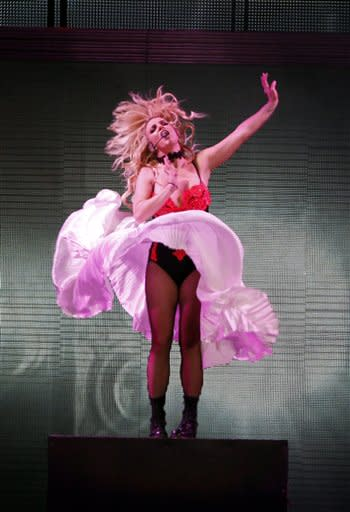Britney Spears performs on stage during a concert in the Ukraine. AP