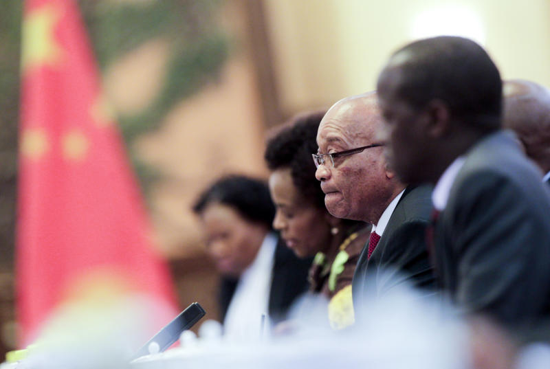 South African President Jacob Zuma, centre, holds talks with Chinese President Hu Jintao, unseen,) following a welcoming ceremony at the Great Hall of the People in Beijing, China Wednesday, July 18, 2012. Zuma is in Beijing at the invitation of Chinese President and will attend the opening ceremony of the fifth Ministerial Meeting of the Forum on China-Africa Cooperation (FOCAC) on 19 July. (AP Photo/Diego Azubel, Pool)