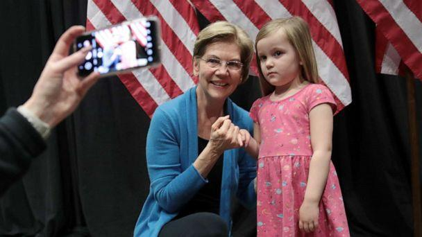 PHOTO: Sen. Elizabeth Warren poses for a photo ahead of her Super Tuesday night event on March 03, 2020, in Detroit. (Scott Olson/Getty Images)