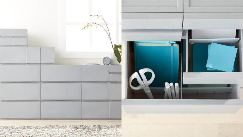 Store your towels, linens and toiletries in a storage unit to keep within easy reach.
