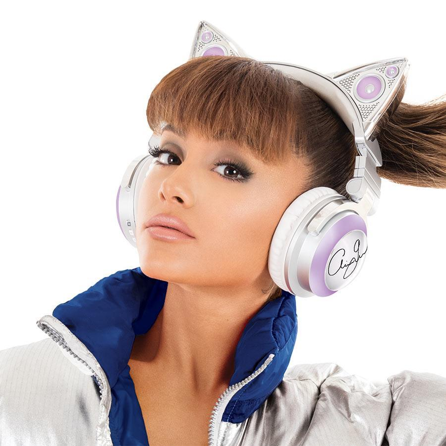 """<p>Maybe you love Ariana Grande, or maybe you don't but find yourself irresistibly drawn to her anyhow because, after all, SHE IS A CAT. You, too, can take on her feline appearance by picking up a set of Grande-branded 'phones that cover your lobes while placing glowing cat ears atop your head. The ears illuminate in eight different festive colors, and the """"cans"""" have speakers that face outward as well as inward, so you can listen privately or turn on the exteriors and really annoy everyone on the subway. (<span>Buy here</span> for $149.99) (Credit: Brookstone.com) </p>"""