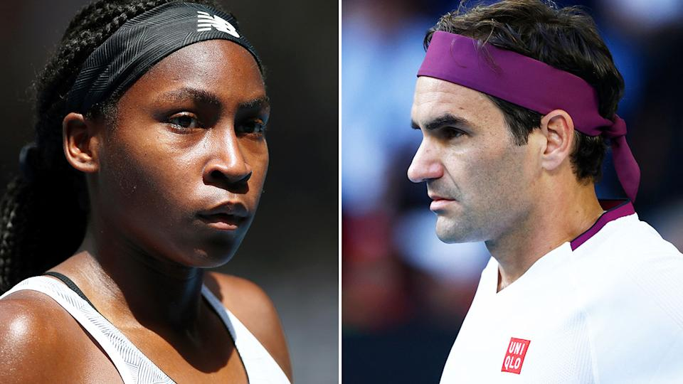 Pictured here, Coco Gauff and Roger Federer.