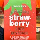 """<p>What would spring be without a fruity drink to get us through those hot days? Trader Joe's has a new <a href=""""https://www.traderjoes.com/digin/post/sparkling-strawberry-juice"""" rel=""""nofollow noopener"""" target=""""_blank"""" data-ylk=""""slk:Sparkling Strawberry Juice"""" class=""""link rapid-noclick-resp"""">Sparkling Strawberry Juice</a> that gives you plenty of bubbles without added sugars. The pink beverage comes a four-pack of 8.45-ounce cans (60 calories each) for $3.99. Better pop them in the refrigerator STAT!</p><p>TJ's even suggests using the berry drink to create a cocktail using vodka and muddled basil. You don't have to tell <em>us</em> twice!</p>"""
